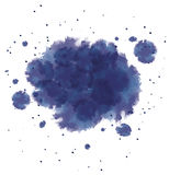 Dark blue watercolor ink splashes Royalty Free Stock Photography