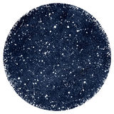 Dark blue watercolor night sky with stars. Dark blue hand drawn watercolor night sky with stars. Splash texture. Circle form with rough, artistic edges Stock Photo