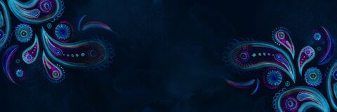 Dark blue watercolor paisley horizontal banner. Hand-painted background in bohemian oriental style