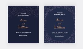 Dark blue wedding invitation cards with rose gold confetti borders frame. Trendy templates for banner, flyer, poster, save the dat. E, greeting vector illustration