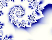 Dark blue white contrast abstract fractal art. Shiny background illustration with beautiful leafy or petal structures and spirals. Dark blue white contrast Stock Illustration
