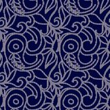 Dark blue and white seamless pattern with embroidery. Vector illustration Royalty Free Stock Images