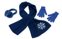 Dark blue winter accessories isolated. Royalty Free Stock Image