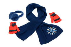 Dark blue winter accessories isolated. Stock Image