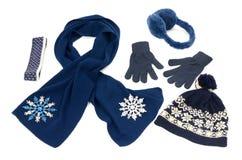 Dark blue winter accessories . Stock Photo