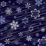 Dark blue winter background. Dark blue christmas background with flying snowflakes (vector royalty free illustration