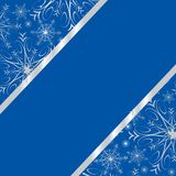 Dark blue winter frame with silver snowflakes Royalty Free Stock Photography