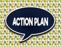 Dark blue word balloon with ACTION PLAN text message. Flowers wallpaper background. royalty free illustration
