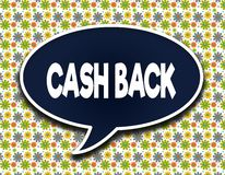 Dark blue word balloon with CASH BACK text message. Flowers wallpaper background. Illustration Stock Photos