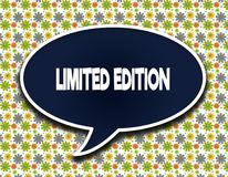 Dark blue word balloon with LIMITED EDITION text message. Flowers wallpaper background. stock illustration