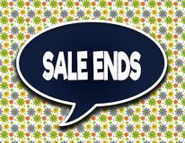 Dark blue word balloon with SALE ENDS text message. Flowers wallpaper background. Royalty Free Stock Image