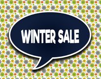 Dark blue word balloon with WINTER SALE text message. Flowers wallpaper background. royalty free illustration