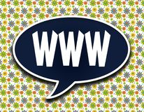 Dark blue word balloon with WWW text message. Flowers wallpaper background. royalty free illustration
