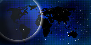 Dark blue world. With a lot of stars on the background Royalty Free Stock Photos