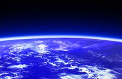 Dark blue world globe and space Royalty Free Stock Photo