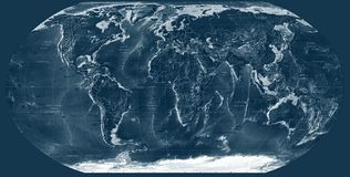 Dark Blue world map Stock Images