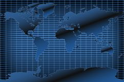 Dark Blue World Map Royalty Free Stock Images