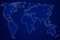 Dark blue world map, isolated Royalty Free Stock Photography