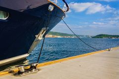 Dark blue yacht moored in Oslo fjord, Norway Royalty Free Stock Image