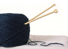 Dark blue yarn for knitting Royalty Free Stock Photo