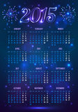 Dark blue 2015 year European calendar in magic. Dark blue vector 2015 year European calendar in magic style royalty free illustration