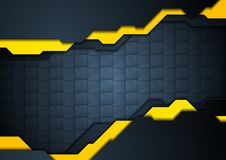 Dark blue and yellow abstract technology background Stock Image