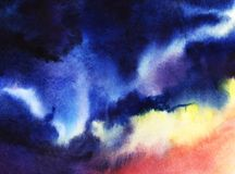 Dark blue  yellow and pink night cloudy sky. Hand drawn real wat. Ercolor Illustration Stock Images