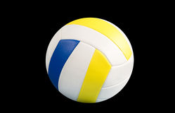 Dark blue, yellow Volley-ball ball on a black background.  Royalty Free Stock Image