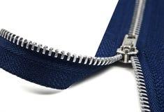 Dark blue zipper opening Stock Images