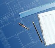 Dark blueprint. Vector realistic illustration with blueprint, ruler and pencil Stock Photos