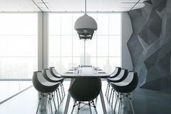 Dark boardroom. Side view of dark boardroom with equipment, city view and daylight. 3D Rendering Stock Photos