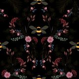 Dark botanical blooming garden night flowers unfinished line drawing with stylish bees seamless pattern vector design for fashion,. Fabric,wallpaper,and all royalty free illustration