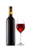 Dark bottle and glass with wine Stock Image
