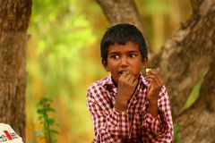 Dark Boy with finger in mouth eating food. Indian dark boy eating snacks in Lalbagh Botanical Garden, Bangalore (India Royalty Free Stock Photo