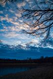Dark branches against the backdrop of gloomy winter sunset sky i. N the clouds. Rural landscape Royalty Free Stock Images