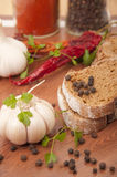 Dark Bread And Spices Stock Image
