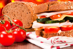 Dark bread sandwich Stock Images