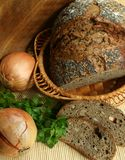 Dark bread with seeds and with poppy Royalty Free Stock Photography