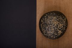 Dark bread with sesame. Top view. royalty free stock photo