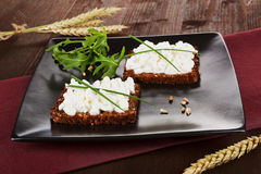 Dark bread slices with cottage cheese. Stock Photos