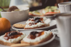 Dark bread with white cheese and jam on white plate. Stock Photography
