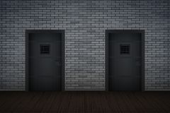 Dark Brick Wall And Prison Interior Royalty Free Stock Photos