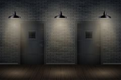 Dark Brick Wall And Prison Or Interior Royalty Free Stock Photography