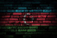 Dark brick wall backround or texture with blending  Azerbaijan flag Royalty Free Stock Image