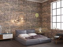 Dark brick wall loft interior bedroom stock photo