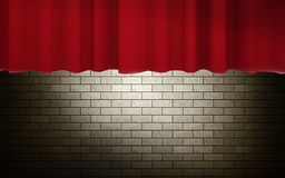 Dark brick wall with red curtain Royalty Free Stock Photo