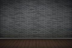 Dark Brick Wall Room Stock Image