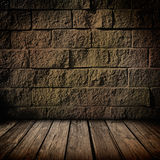 Dark brick and wood interior Stock Photo