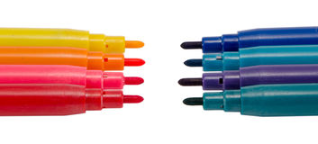Dark bright color felt tip pens oponents on white Stock Photo