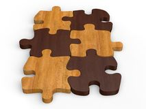 Dark and bright wooden jigsaw pieces Stock Photos